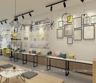 Thiết kế - thi công quán trà sữa tông màu Vàng & Trắng ( Yellow & white  )