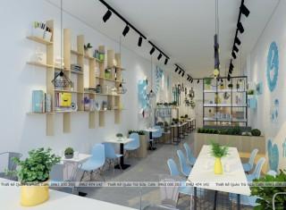Thiết kế - thi công quán trà sữa tông màu Xanh lam & Trắng ( Blue & white )