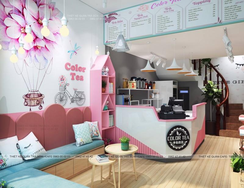 Thiết kế - Thi công Quán Trà sữa Color Tea Lạng Sơn