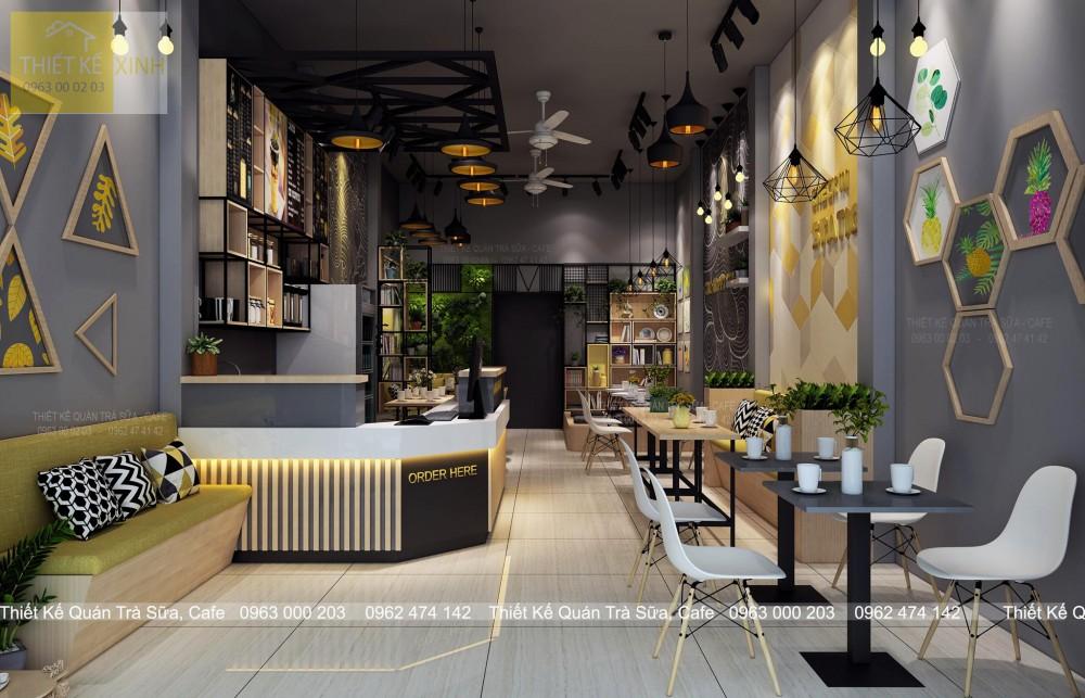 Thiết kế - thi công quán trà sữa & cafe - CHECK IN STATION ( Hưng Yên )