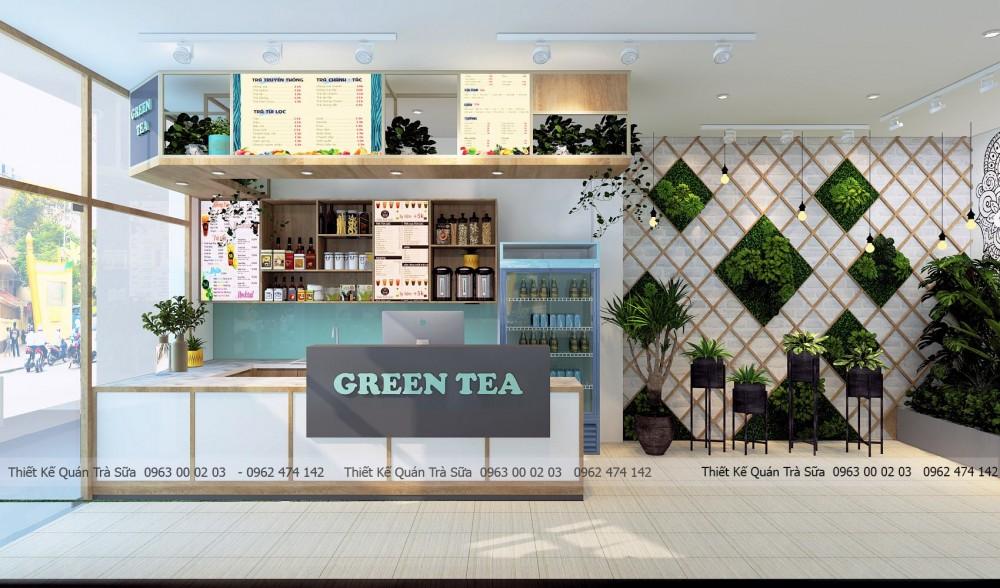 Thiết kế - thi công quán Trà sữa GREEN TEA