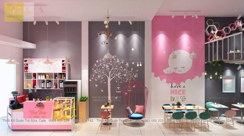 Thiết kế - thi công quán Trà sữa THE TEA